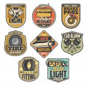 Car Service Vintage Badges With Auto Repair Tools And Automotive Spare Parts. Motor Vehicle Engine,  poster