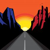 Mountains Road Landscape. Adventure Outdoor Expedition Mountain Mountain Snowy Peak Mountain Backgro poster