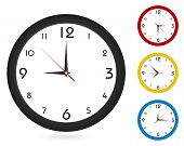 Vector Simple Classic Wall Clock, For Your Clock Design. Black Clock, Red Clock, Yellow Clock, Blue  poster