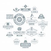 Chemical Science Logo Icons Set. Simple Illustration Of 16 Chemical Science Logo Icons For Web poster