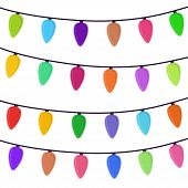 Vector Cartoon Bright Garland Isolated On White Background. Shining Illumination For Christmas Holid poster