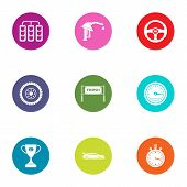 Racing Work Icons Set. Flat Set Of 9 Racing Work Icons For Web Isolated On White Background poster