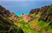 Aerial Landscape View Of Na Pali Coastline, Kauai, Hawaii poster