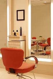 stock photo of beauty salon interior  - an image of an upscale and modern hair and beauty salon - JPG