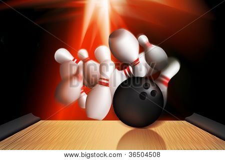 illustration of bowling and a bowling alley hit