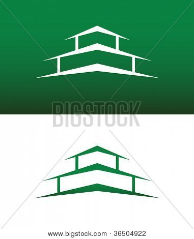 Abstract House Icon Vector on Both Solid and Reversed Background.