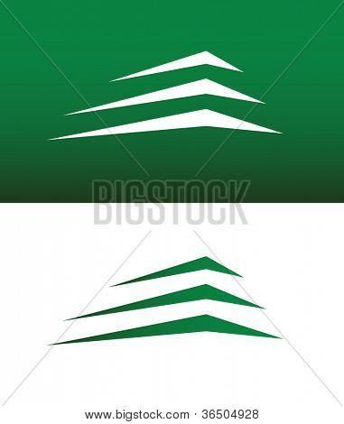 Abstract Building or Mountain Icon Vector Both Solid and Reversed.