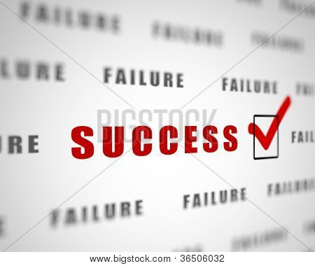 Image with a word choice symbolizing success