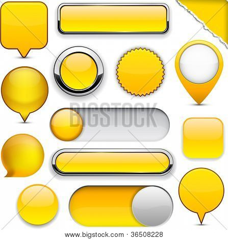 Blank yellow web buttons for website or app. Vector eps10.