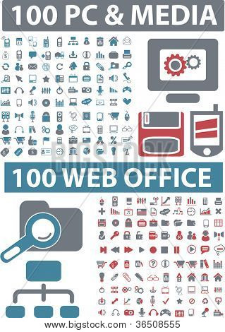200 pc & media, web office icons set, vector