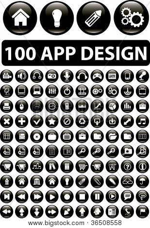 100 app design buttons set, vector