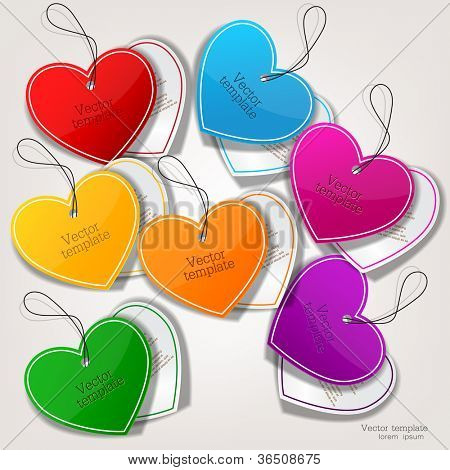 Set of bubbles, stickers, labels, tags. Shape of hearts