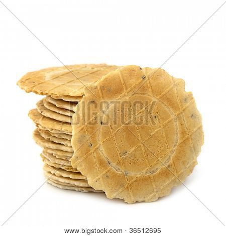 Stack of water crackers, isolated on white background.
