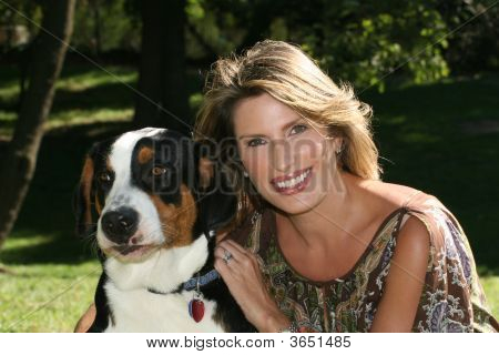 Gorgeous Woman With Swiss Mountain Dog