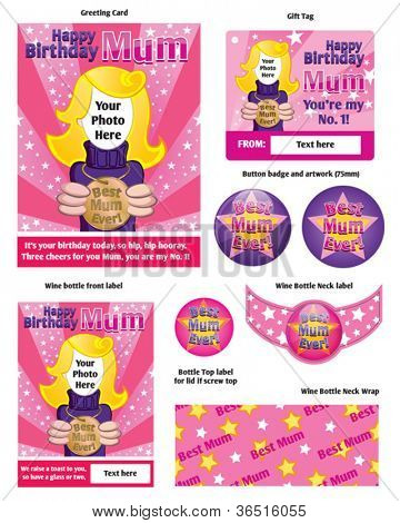 Vector Birthday Card for Best Mum. Includes wine bottle label, neck label, neck wrap, round label, gift tag and badge artwork.  Resize to suit, print out onto card/sticker sheet and make her smile.