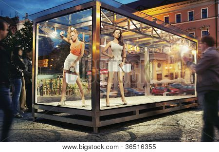 Two pretty good looking woman in exhibition window