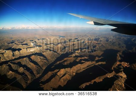 Andes Mountains seen from the plane, South America