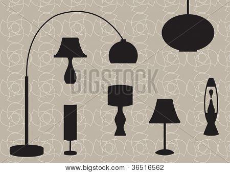 Retro lamp silhouettes