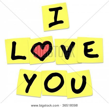 The words I Love You written on yellow sticky notes to share emotions, with an affectionate message of passion