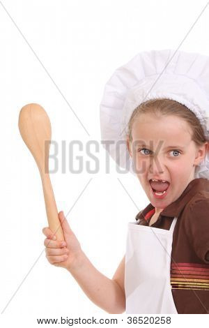 Little chef with a large spoon