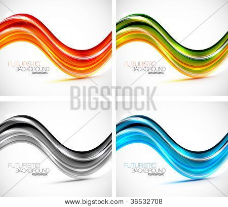 Futuristic glossy wave abstract background. Raster version of my vector illustration