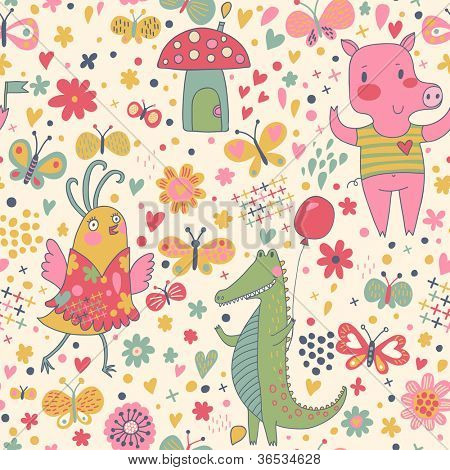 Bright birthday seamless pattern of funny animals. Crocodile, pig and cute bird with butterflies. Seamless pattern can be used for wallpaper, pattern fills, web page background, postcards.