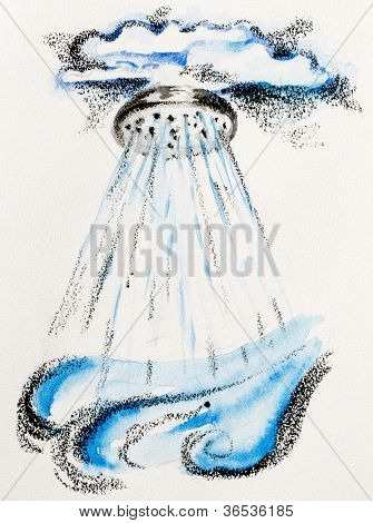 Rain fabulous concept with douche and clouds, watercolor with slate-pencil painting