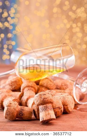 A Glass Of Champagne  Spill Over Corks