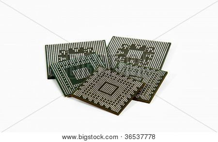 Laptop Video Chips On White Background