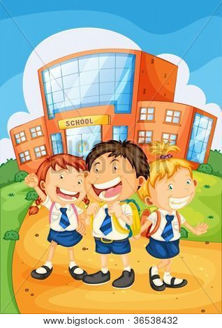 illustration of a kids in front of school