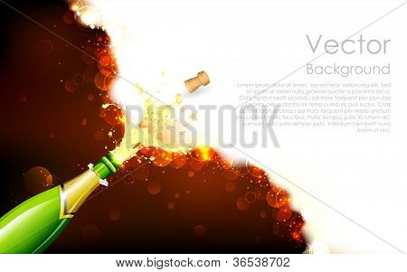 illustration of explosion of champagne bottle cork on abstract background
