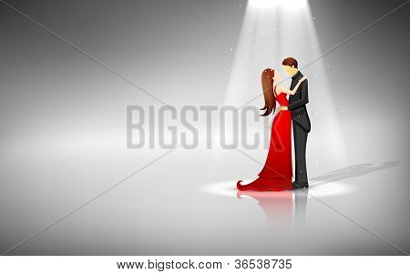 illustration of romantic couple standing in spot light