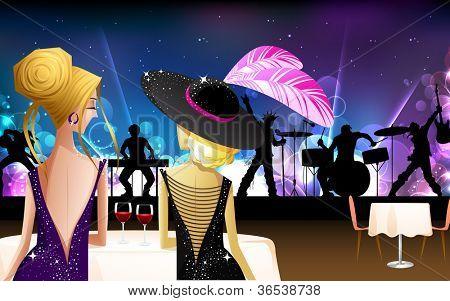 illustration of women enjoying live rock band show