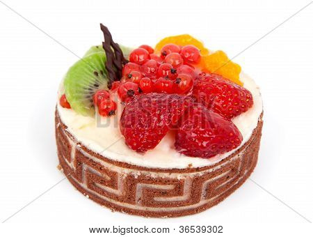 Low-calorie Fruit Cake Isolated On White Background