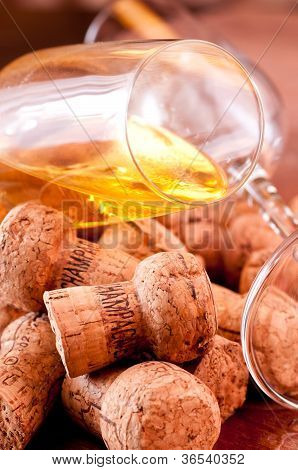 Corks Of Champagne Extreme Close Up