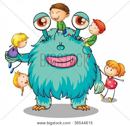 illustration of kids playing with monster on white
