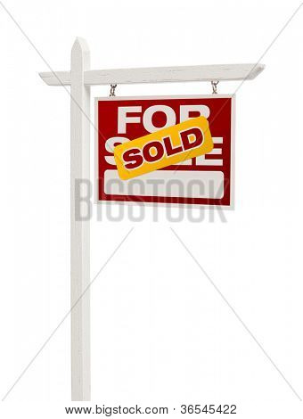 Red Sold For Sale Real Estate Sign Isolated on a White Background with Clipping Path.