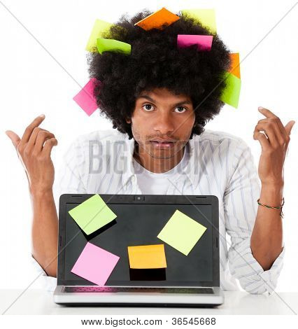Black man multitasking with post it notes - isolated over a white background