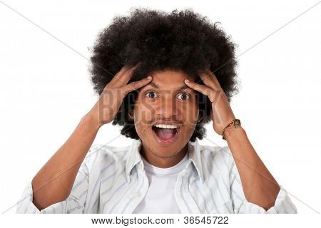Surprised black man looking happy - isolated over a white background