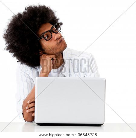 Pensive geeky computer technician - isolated over a white background