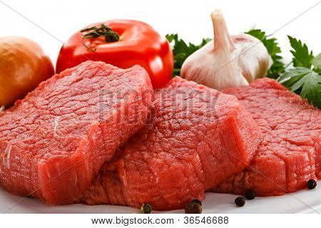 Fresh raw beef on white background