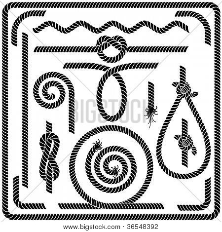 Set of Seamless Rope Design Elements