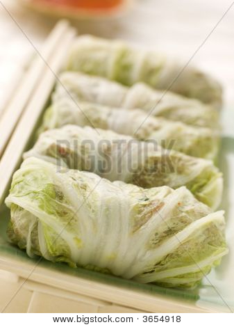 Steamed Pork And Vegetable Cabbage Rolls With Sweet Chili Sauce