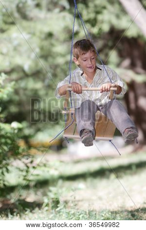 young happy boy on swing on natural background