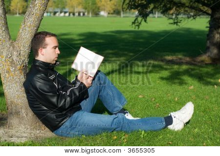 Man Studying Outside
