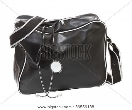 Doctor's bag with stethoscope.  Isolate on white background.
