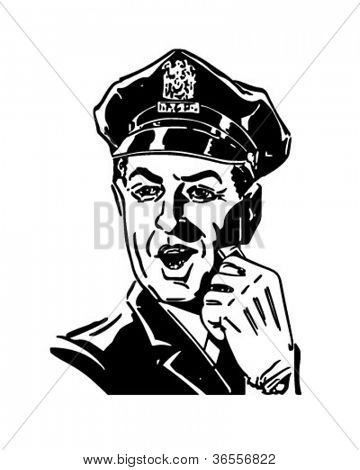 Policeman With Whistle - Retro Clipart Illustration
