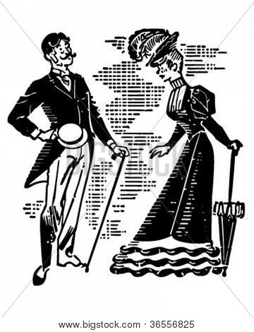 Victorian Couple Courting - Retro Clipart Illustration