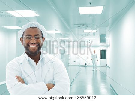 African american man at scientific laboratory