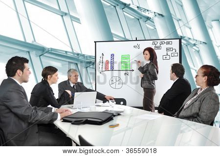 Business people having on presentation at office. Businesswoman presenting on whiteboard.
